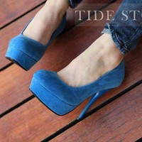 Blue Platform Stiletto Heel Round-toe Women's Shoes: tidestore.com