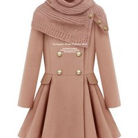 Double-Breasted Coat Pink With Scarf from Pop and Shop