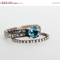 ON SALE Blue Zircon Wedding Ring, Engagement Ring or Promise Ring Set in Sterling Silver