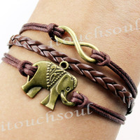 Bronze elephant bracelet, infinity bracelets, leather rope bracelet, the best bracelet, suit to send anyone's gift