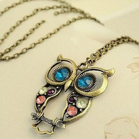 retro pierced engraved cute OWL-free shipping