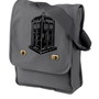 Doctor Who Tardis Messenger Bag Gray Canvas by bagnabitcreations