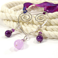 Artisan Made Sterling Silver Heart Necklace with Amethyst, Lavender Chalcedony and Silk Ribbon