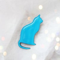 Ice blue cat brooch