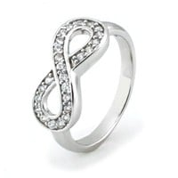 Sterling Silver Infinity Ring w/ Cubic Zirconia (Size 4) Available Size: 4, 4.5, 5, 5.5, 6, 6.5, 7,
