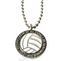 "Forgiven Jewelry - Colorful Volleyball Pendant Necklace ""I Can Do All Things Through Christ"""