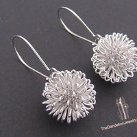 Dandelion earrings in white gold dangle by Thedandelionjewelry