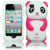 Panda Silicone Jelly Skin Case Cover for Apple iPhone 4/4S/4G/4GS - Hot Pink