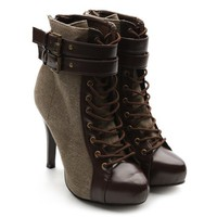 Ollio Women's Winter Lace Ups Military Ankle Boots Buckle High Heels Coffee Color Shoes