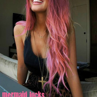 BIKINI PINK/ 18 inches long/ human hair extensions/ remy quality hair/ hair wefts/ pastel hair/ free people hair