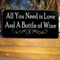 Love and Wine Sign Wood Painted Wine Lover Plaque Black