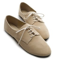 Ollio Womens Ballet Flat Loafers Faux Suede Oxford Lace Ups Beige Shoes