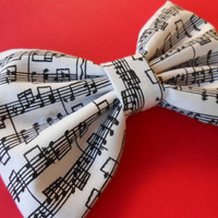 Music Notes Hair Bow, Girl Hair Bow, Fabric Hair Bow