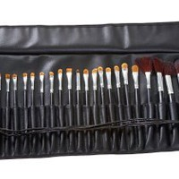MASH 34pc Studio Pro Makeup Make Up Cosmetic Brush Set Kit w/ Leather Case - For Eye Shadow, Blush,