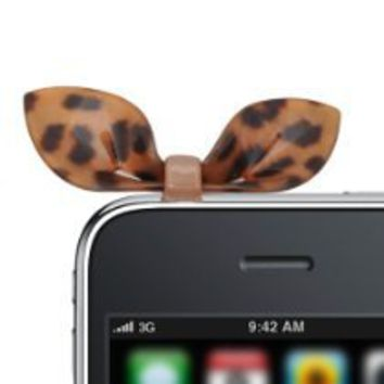 "Cool Stuff - ""No Crack"" Acrylic Spotty Cat Ear iPhone Jack Anti Dust Plug Cover Stopper (Brown and Black)"