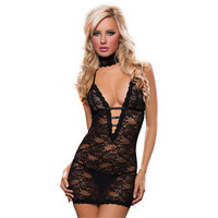 -ToBeInStyle Three Piece Set Deep V Lace Halter Chemise Choker Eye Mask And Thong-Clothing-Intimates-Lingerie & Sets