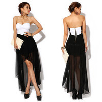 Sexy Women Punk Cut Out Side Rockabilly Swing Chiffon Tail Hem Club Tulip Dress