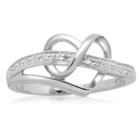 Sterling Silver Diamond Heart Ring (1/20 cttw, I-J Color, I3 Clarity), Size 8
