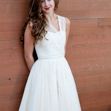 Short wedding dress tea length vintage inspired s style eco