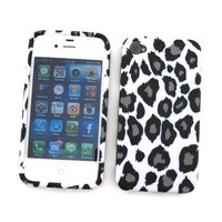 Apple iPhone 4 & 4S Crystal Silicone Skin Case Snow Leopard Design