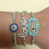 Arm Candy Set of 3 Crystal Hamsa Hand, Evil Eye and Love Charm Bracelets
