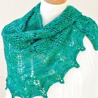 Knitted Lace Shawl Aquamarine