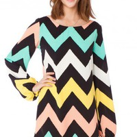 Jagged Chevron Dress in Peaches - ShopSosie.com