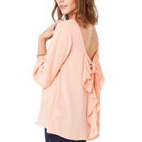 Coletta Bow Blouse in Peach - ShopSosie.com