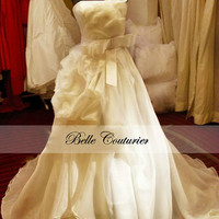 Custom Made Wedding Dress -- Organza and Tulle w/ Handsewn Flowers, Bow Belt, Draped Skirt