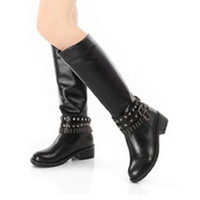 Korean Fashion Ladies Black Motorcycle Boots : Wholesaleclothing4u.com