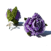 Antique lace rose earring, lavender, lilac, purple, small petite, delicate embroidery, bridesmaid gift, country wedding lace earring TAGT