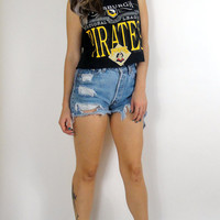 Vintage 90s Cropped Pittsburgh Pirates Muscle Tee