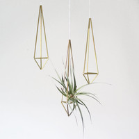 brass himmeli air plant holder / prism ornament / modern hanging mobile