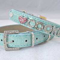 Personalized Blue Bling Dog Collar