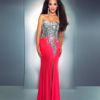 Mac Duggal Prom 2013 - Strapless Neon Pink Sequin &amp; Rhinestone Dress - Unique Vintage - Cocktail, Pinup, Holiday &amp; Prom Dresses.