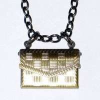 Gunmetal Necklace with Brass Envelope Locket Charm for Special Note