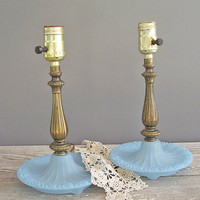2 vintage lamps painted blue glass and brass by KatyBitsandPieces