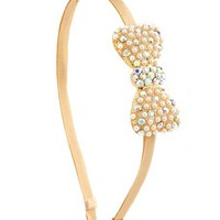Pearl Bow Satin Headband: Charlotte Russe