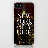 New York City Girl Manhattan Skyline iPhone Case by Rex Lambo | Society6