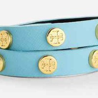 NEW Tory Burch BLUE SKY Gold Logo Leather Cuff Stud Bracelet DOUBLE WRAP
