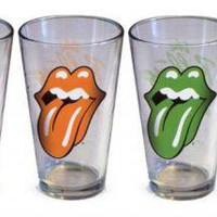 ROCKWORLDEAST -Rolling Stones, Glass Mug Set, Tongues, 4 Pack