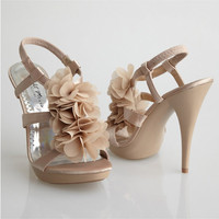 Night Moves Footwear-Nude Flutter Ruffle Sleek Sandal Heels - Unique Vintage - Cocktail, Pinup, Holiday & Prom Dresses.