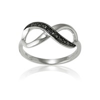 Sterling Silver Black Diamond Infinity Figure 8 Ring (Size 6) Available in sizes 5 - 6 - 7 - 8 - 9