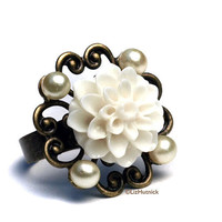 FREE SHIPPING. White Mum and Faux Pearls Filigree Ring. Cocktail Ring. Adjustable Ring. Wedding Belle