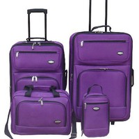 Hercules Jetlite 4−pc. Purple Upright Luggage Set PURPLE