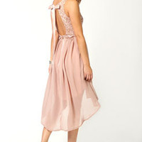 Jess Sequin Top Open Back Chiffon Mixi Dress