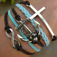 Braceletretro silver anchor braceletinfinity  by vevela2012