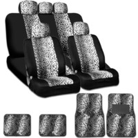 New and Unique YupbizAuto Brand Safari Snow Leopard Print Universal Size Car Truck SUV Seat Covers