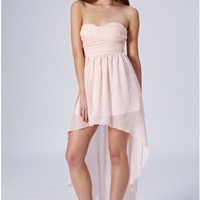 Rare Mullet Hem Chiffon Bandeau Dress...Light Pink...RRP £65