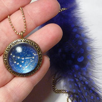 Zodiac necklace - Zodiacal constellations. Unique Birthday gift for her - zodiac jewelry pendant. Capricorn jewelry necklace. Rusteam